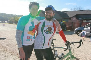 Justin (left) and his friend Juan (right) at the start line the 2013 Pedal for Peace ride.